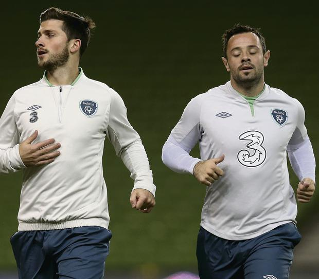 Republic of Ireland's Shane Long (left) and Andy Reid during the training session at the Aviva Stadium. Picture credit: Brian Lawless/PA Wire