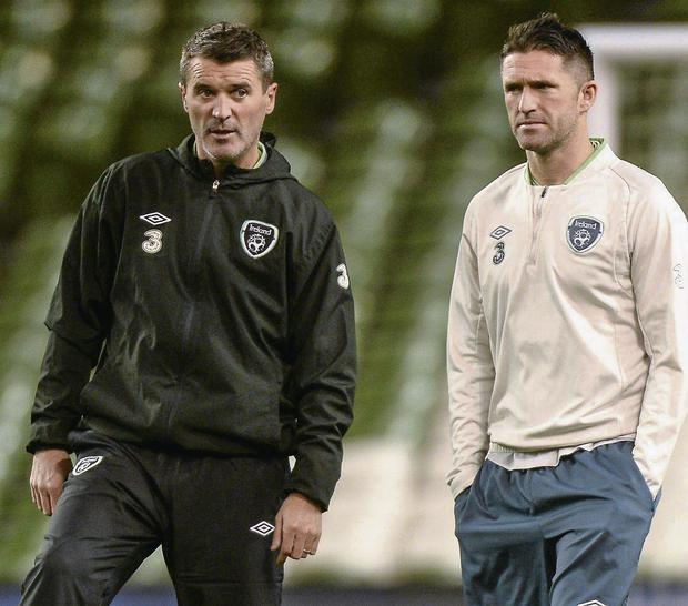 Republic of Ireland assistant manager Roy Keane with cpatain Robbie Keane. Picture credit: Matt Browne / SPORTSFILE