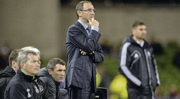 FULL FOCUS: Republic of Ireland manager Martin O'Neill is pictured during last night's friendly win over Latvia at the Aviva Stadium.