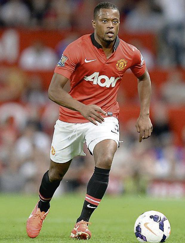Manchester United's Patrice Evra. Photo: Martin Rickett/ PA Wire.