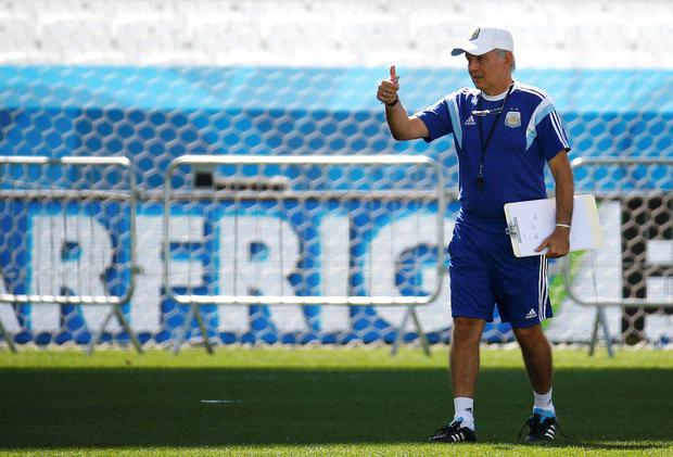 Alejandro Sabella, coach of Argentina's national soccer team, gives a thumbs-up during the team's last training session, at the arena di Corinthians stadium in Sao Paulo June 30, 2014, one day before their round of 16 2014 World Cup soccer match against Switzerland on July 1. Picture: Reuters/Kai Pfaffenbach.