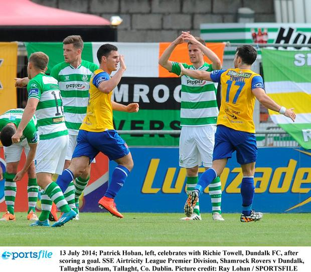 Patrick Hoban, left, celebrates with Richie Towell, Dundalk FC, after scoring a goal. Picture: Ray Lohan/SPORTSFILE