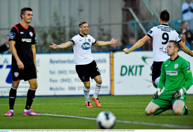 Darren Meenan celebrates after scoring his side's first goal