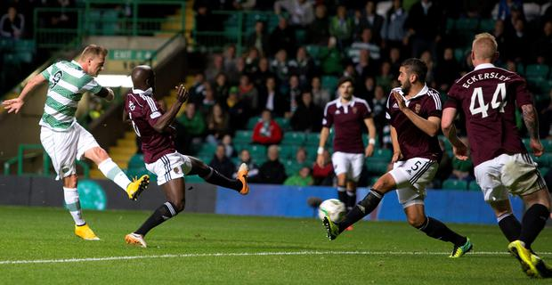 Celtic's John Guidetti scores during the Scottish League Cup Third Round match at Celtic Park, Glasgow. PRESS ASSOCIATION Photo. Picture date: Wednesday