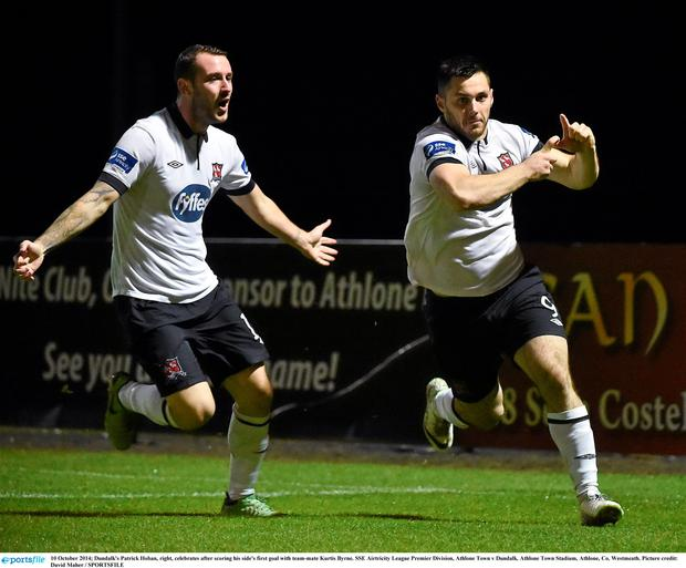 10 October 2014; Dundalk's Patrick Hoban, right, celebrates after scoring his side's first goal with team-mate Kurtis Byrne. SSE Airtricity League Premier Division, Athlone Town v Dundalk. Athlone Town Stadium, Athlone, Co. Westmeath. Picture credit: David Maher / SPORTSFILE