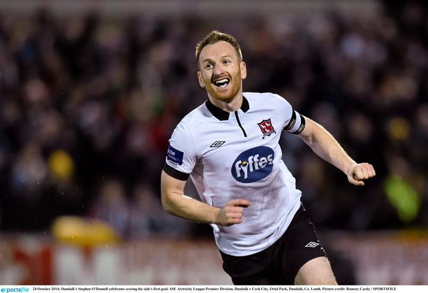24 October 2014; Dundalk's Stephen O'Donnell celebrates scoring his side's first goal. SSE Airtricity League Premier Division, Dundalk v Cork City, Oriel Park, Dundalk, Co. Louth. Picture credit: Ramsey Cardy / SPORTSFILE