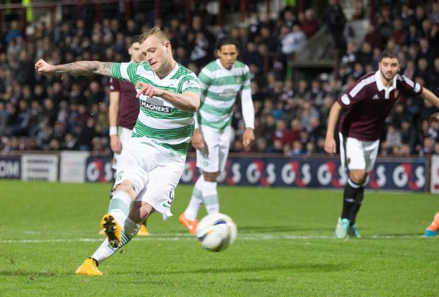 Celtic's John Guidetti scores penalty during the William Hill Scottish Cup Fourth Round match at Tynecastle Stadium, Edinburgh. PRESS ASSOCIATION Photo. Picture date: Sunday November 30, 2014. See PA story SOCCER Hearts. Photo credit should read Jeff Holmes/PA Wire.