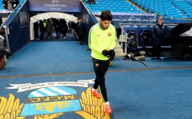 Barcelona's Luis Suarez during a training session at the Etihad Stadium, Manchester