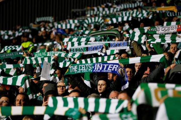 Celtic fans during the first leg