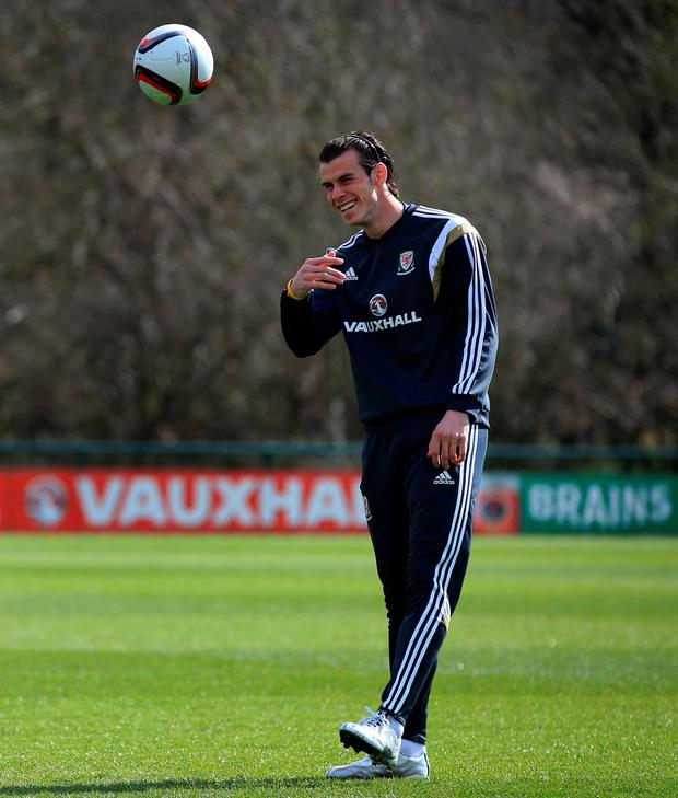 Gareth Bale in training for Wales