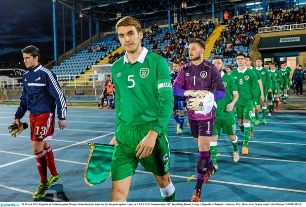 Republic of Ireland captain Thomas Hoban leads his team out for the game against Andorra.