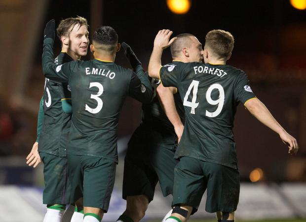 Stefan Johansen celebrates with teammates