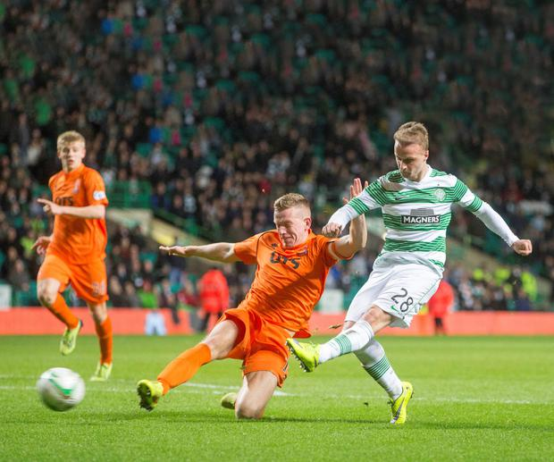 Celtic's Leigh Griffiths scores his side's fourth goal of the game during the Scottish Premiership match at Celtic Park