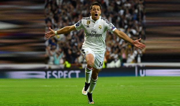 Real Madrid's Javier Hernandez celebrates his late winner against Atletico Madrid during their Champions League quarter-final second leg clash at the Bernabeu Stadium