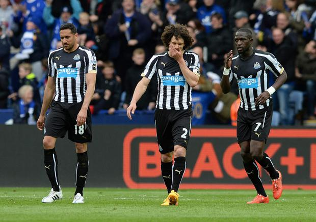 Coloccini (centre) after Newcastle's loss to Leicester