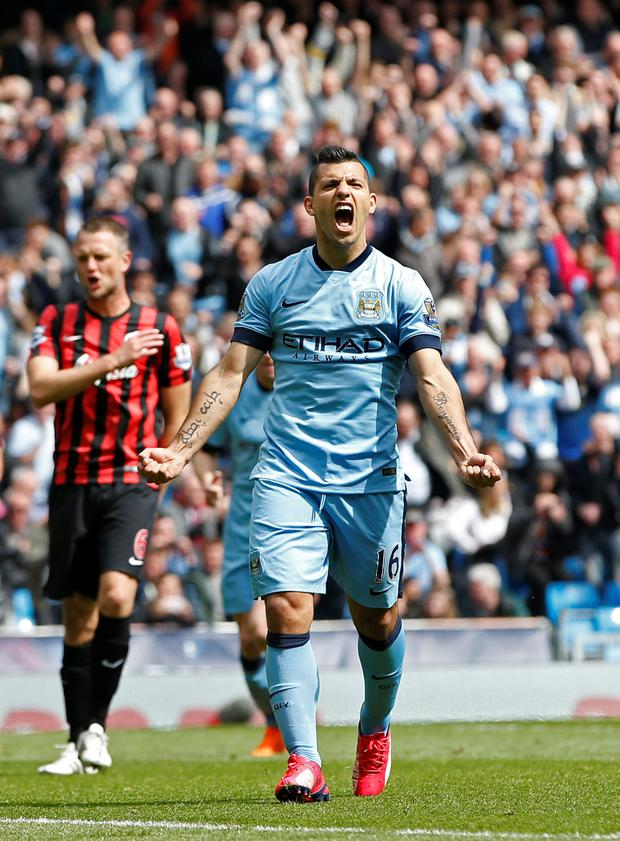 Aguero scored a hat-trick