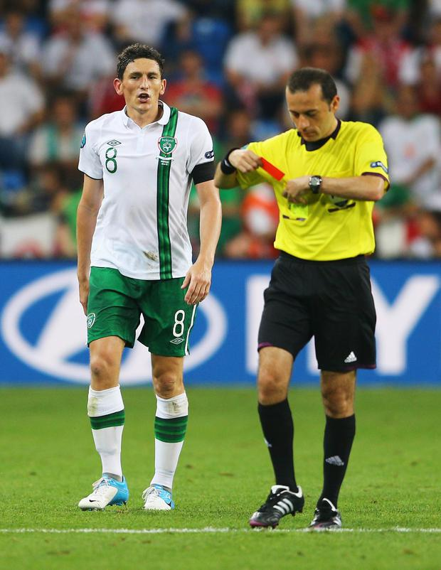 The Turkish referee took charge of Ireland's Euro 2012 group clash with Italy, where he sent off Irish midfielder Keith Andrews (above).