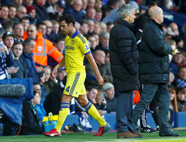 Cesc Fabregas being sent off for Chelsea