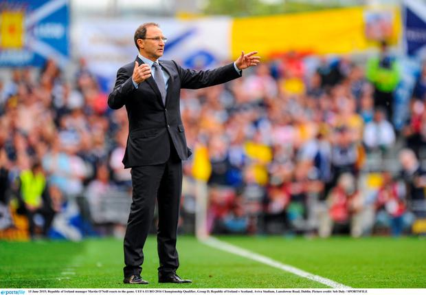 Republic of Ireland manager Martin O'Neill reacts to the game. UEFA EURO 2016 Championship Qualifier, Group D, Republic of Ireland v Scotland, Aviva Stadium,