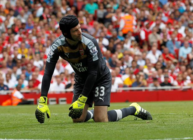 Petr Cech reacts after letting in West Ham's second goal
