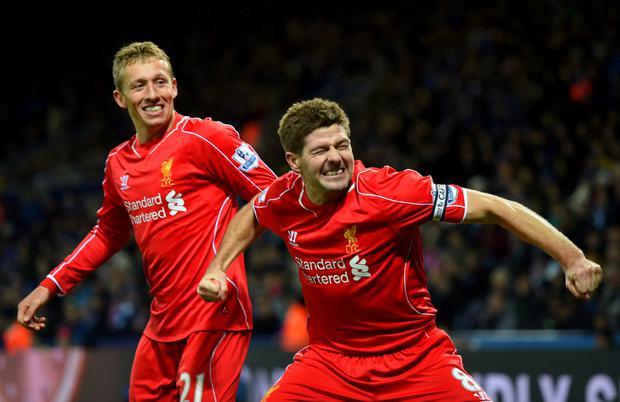 Lucas Leiva (left) with Steven Gerrard