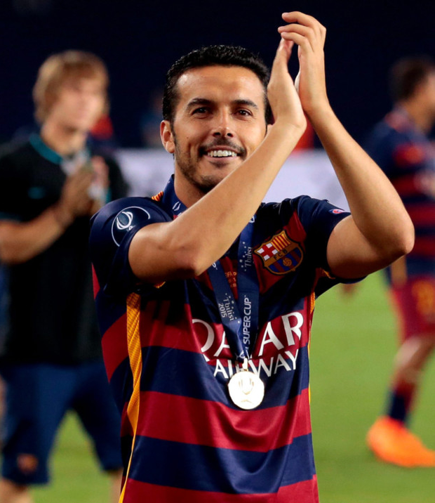 Barcelona striker Pedro celebrates after his extra-time goal beat Sevilla to win the UEFA Super Cup in Tbilisi on Tuesday night