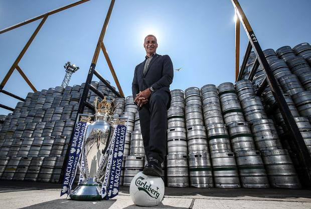 Carlsberg, official beer of the Premier League, brought footballing icon, Ruud Gullit, to Dublin along with the Premier League trophy yesterday. Pics: INPHO/Dan Sheridan