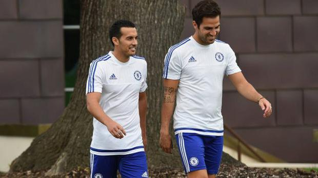 Pedro pictured at Chelsea's Cobham training base with fellow Spaniard Cesc Fabregas.