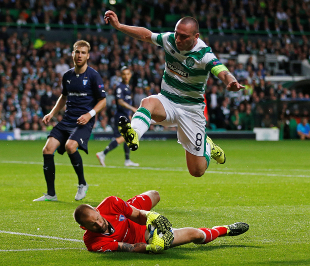Celtic's Scott Brown in foiled by Malmo's Johan Wiland during last Wednesday's Champions League play-off first leg.