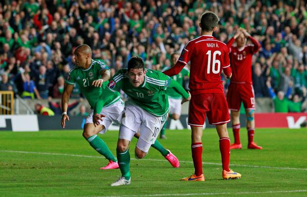 Kyle Lafferty celebrates after scoring a late equaliser for Northern Ireland against Hungary at Windsor Park last night