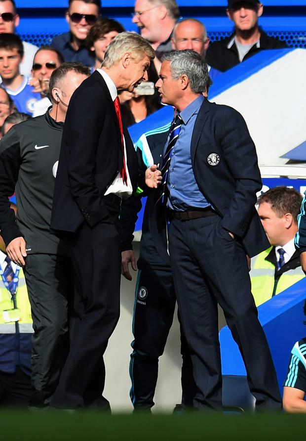 Arsenal manager Arsene Wenger and Chelsea boss Jose Mourinho square off last October during their Premier League encounter