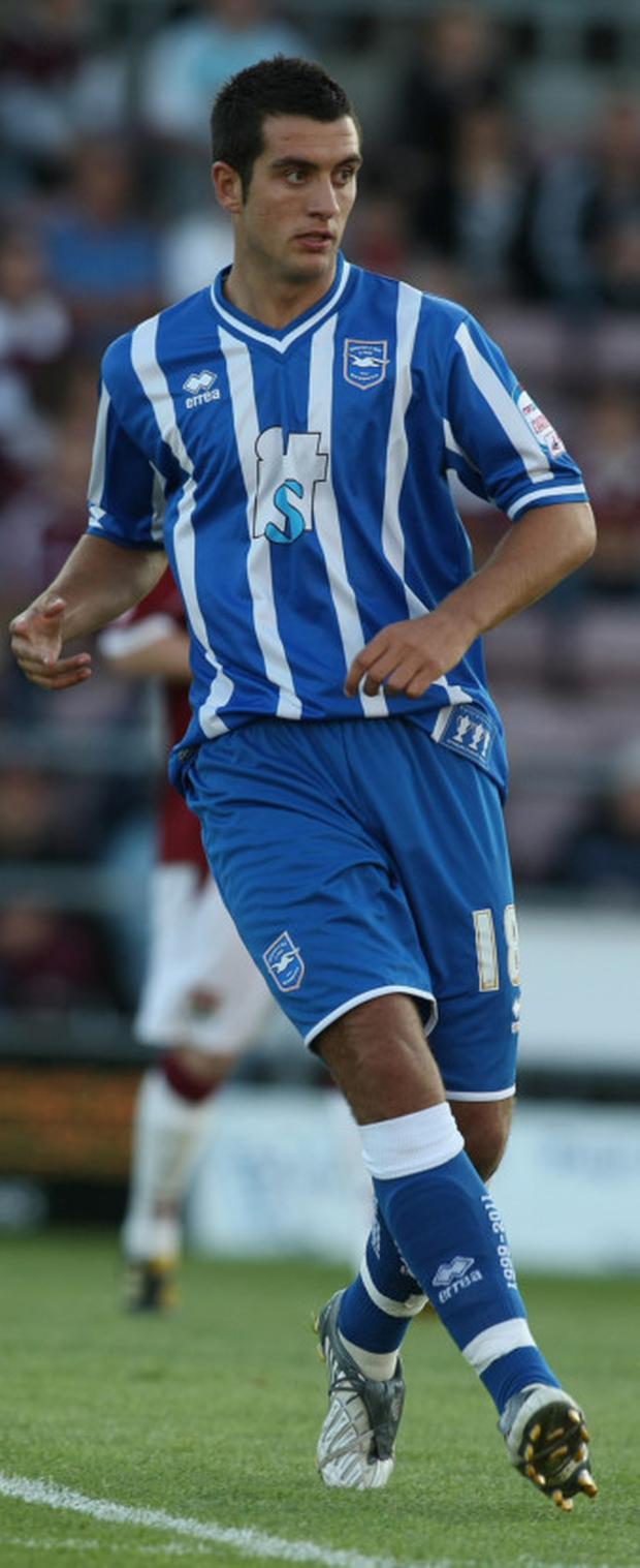 Dubliner Gary Dicker, pictured here in Brighton colours, will be hoping to shock Liverpool with Carlisle United in tonight's League Cup clash at Anfield