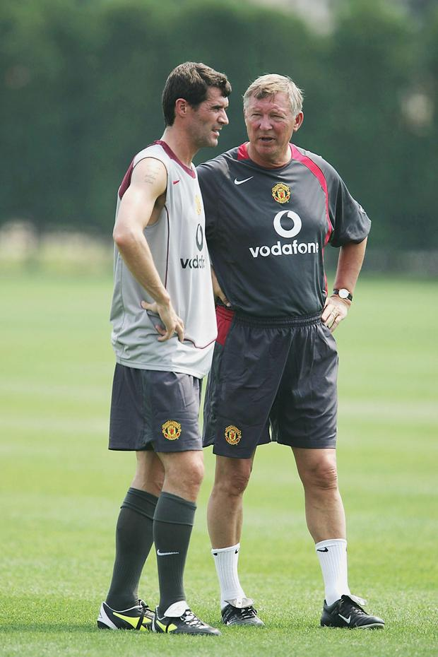 Roy Keane and Alex Ferguson during their time as Manchester United captain and manager respectively