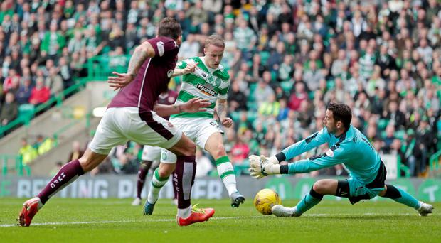 Celtic's Leigh Griffiths has his shot saved by Hearts goalkeeper Neil Alexander during Saturday's clash