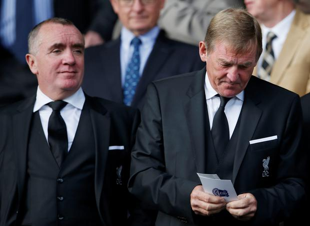 Former Liverpool player and manager Kenny Dalglish with chief executive Ian Ayre in the stands at Goodison