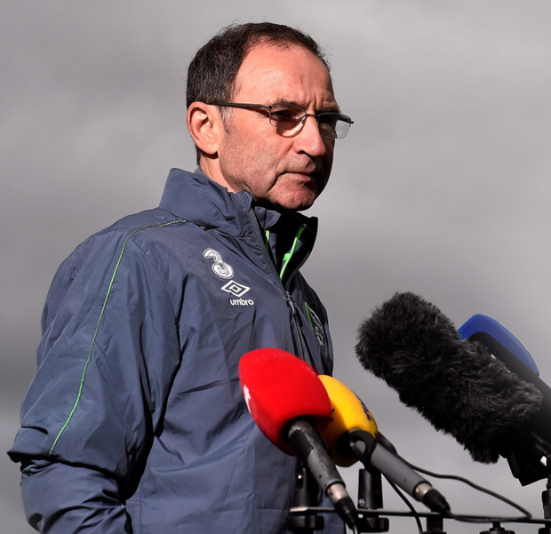 Ireland manager Martin O'Neill speaks to the media in Abbotstown yesterday.