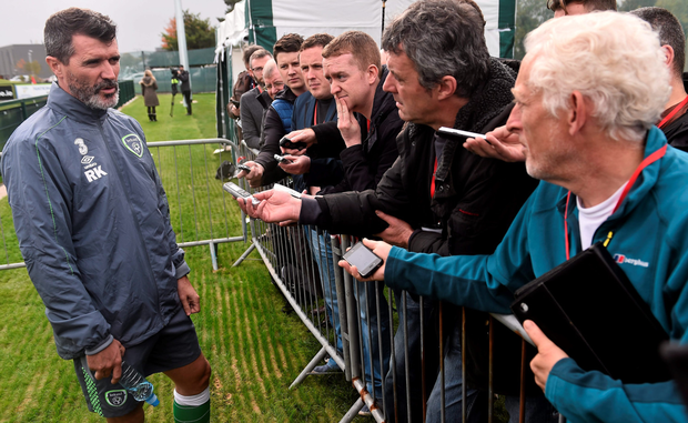 Ireland assistant manager Roy Keane talks to The Herald's Paul Hyland (far right) during yesterday's press briefing at the FAI National Training Centre in Abbotstown