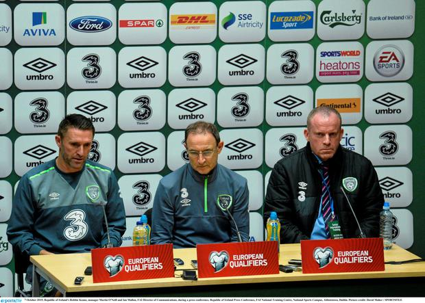 Robbie Keane and Martin O'Neill at yesterday's press conference