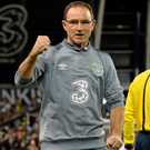 Republic of Ireland manager Martin O'Neill celebrates at the final whistle