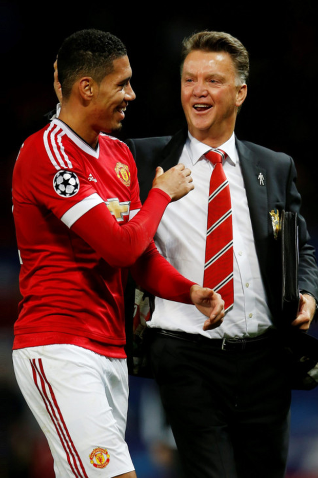 Manchester United manager Louis van Gaal, pictured here with defender Chris Smalling after the recent Champions League win over Wolfsburg