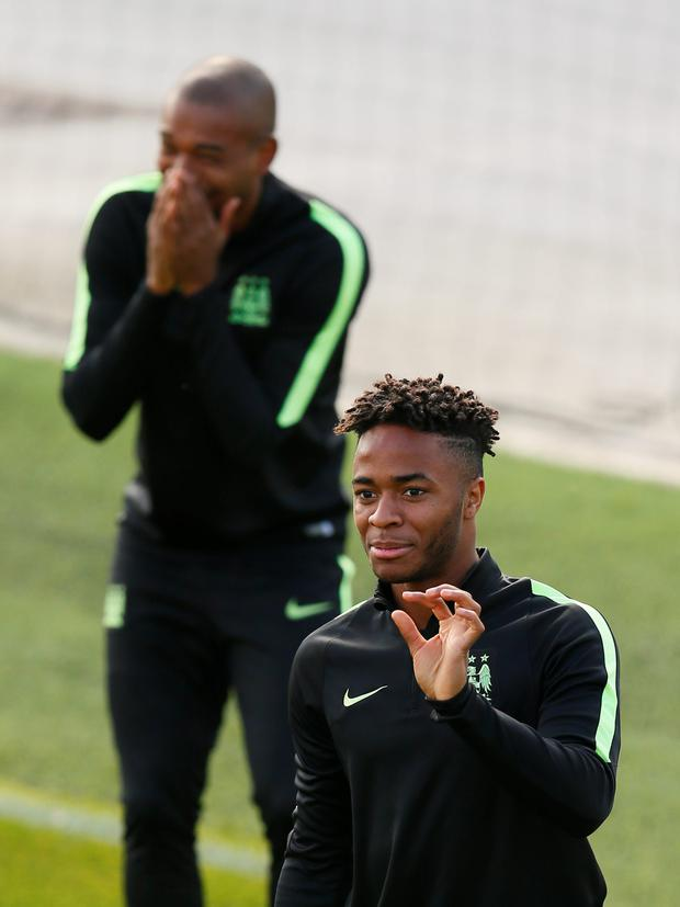 Manchester City's Raheem Sterling during training