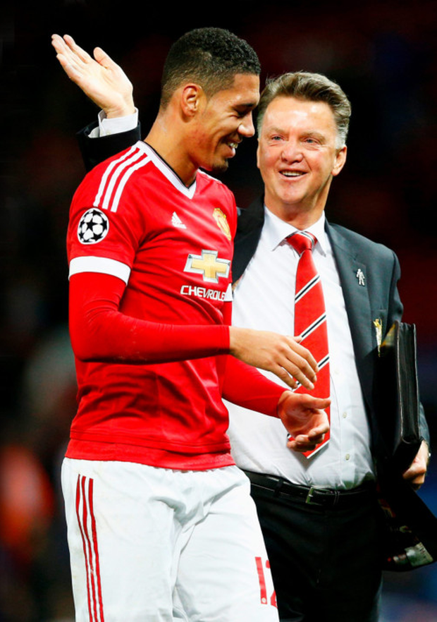 Manchester United manager Louis van Gaal and defender Chris Smalling.