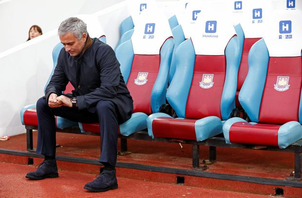Chelsea manager Jose Mourinho cuts a forlorn figure ahead of the defeat to West Ham last Saturday