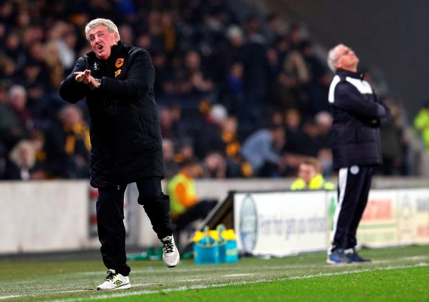 Claudio Ranieri (R) manager of Leicester City and Steve Bruce manager of Hull City