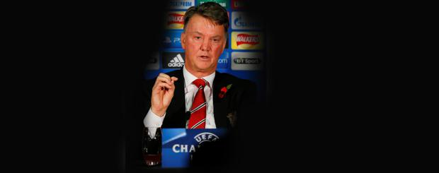 Manchester United manager Louis van Gaal during the press conference
