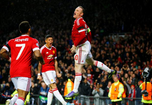 Wayne Rooney celebrates his goal last night