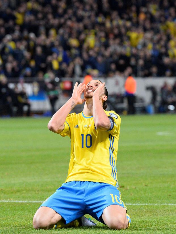 Sweden captain Zlatan Ibrahimovic reacts after scoring against Denmark in Saturday night's Euro 2016 play-off first leg win