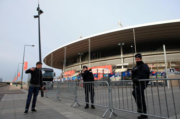 Security at the Stade de France in Paris, following Friday's massacre