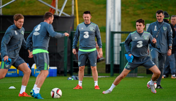 Ireland players (l-r) Aiden McGeady, Robbie Keane and Robbie Brady in action during training ahead of tonight's clash with Bosnia
