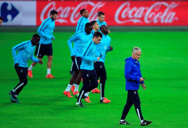 France manager Didier Deschamps trains his squad in Wembley